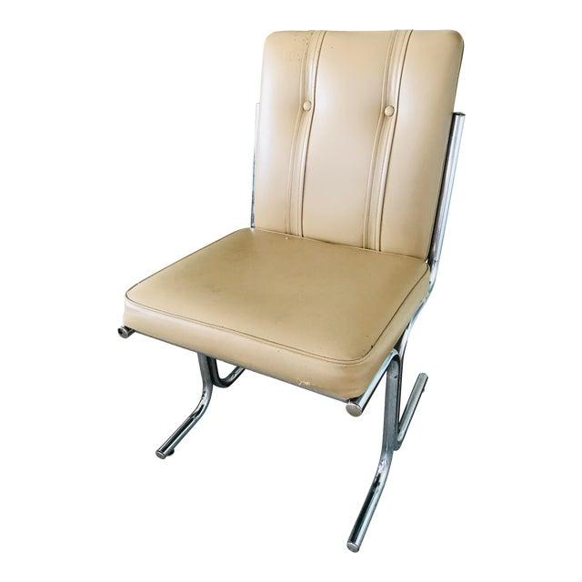 Tufted Tan Chrome Tubular Side Chair For Sale