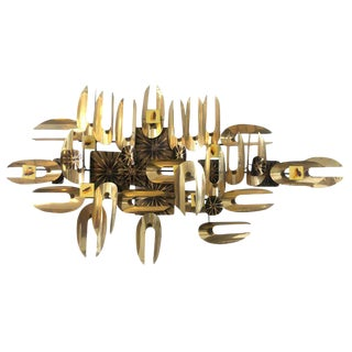 Brutalist Brass and Enamel Wall Sculpture For Sale