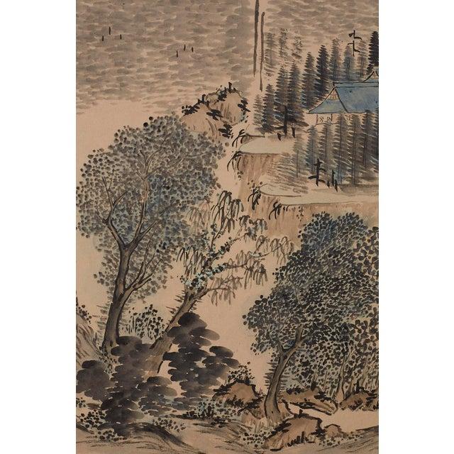 Green Japanese Six Panel Meiji Landscape Screen For Sale - Image 8 of 13