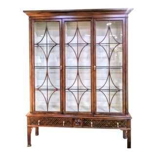 Hickory White Dark Cherry Wood and Glass Massive Fretwork Regency China Display Cabinet For Sale