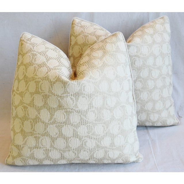 """Animal Skin Italian Embroidered Silk & Leather Feather/Down Pillows 21"""" Square - Pair For Sale - Image 7 of 13"""