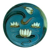 Image of 1900 Villeroy & Boch Majolica Water Lily Plate For Sale