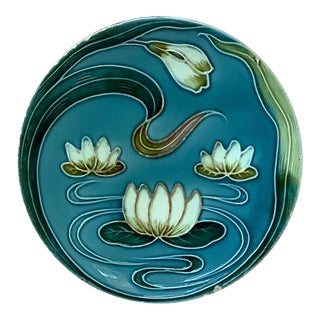 1900 Villeroy & Boch Majolica Water Lily Plate For Sale