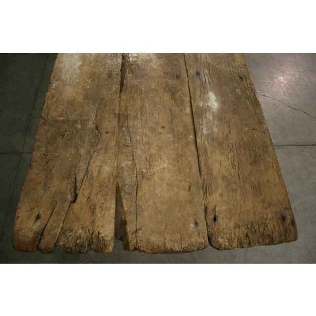 Early 19th Century Long Rustic Oak Console or Dining Table For Sale - Image 5 of 9