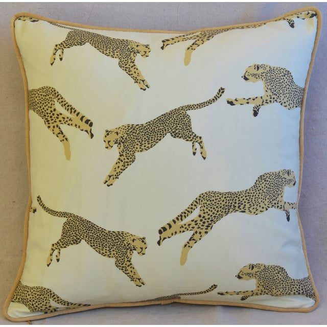 """Chic pillow custom-tailored from a linen-and-cotton blended fabric in Scalamandré """"Leaping Cheetah"""" pattern. Golden cotton..."""