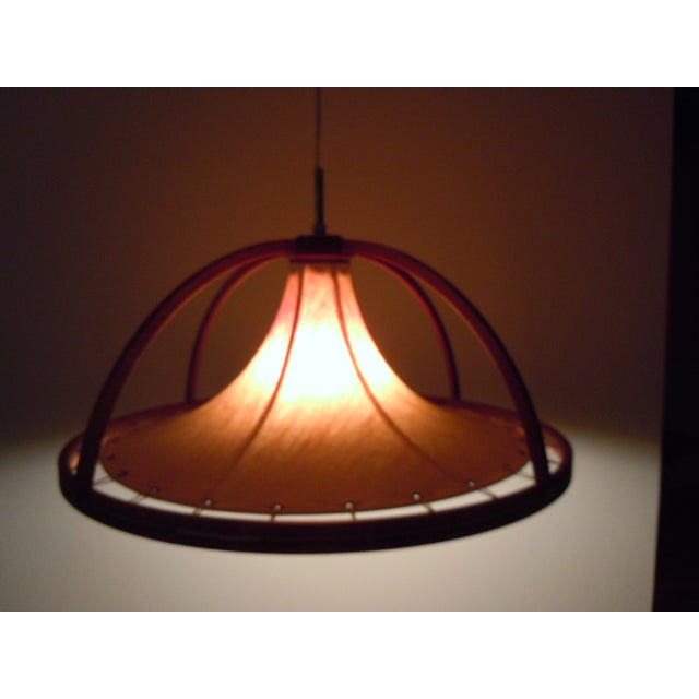 Danish Modern Teak & Canvas Pendant Light - Image 4 of 7