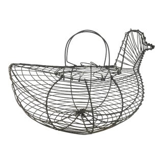 Vintage French Wire Egg Basket Hen For Sale