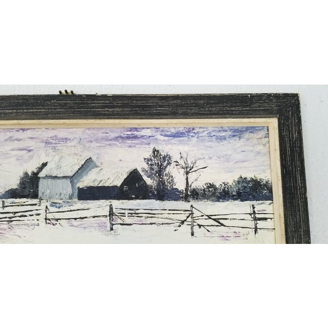 1970 Vintage Snowscaped Oil Painting , Signed . For Sale In Miami - Image 6 of 12