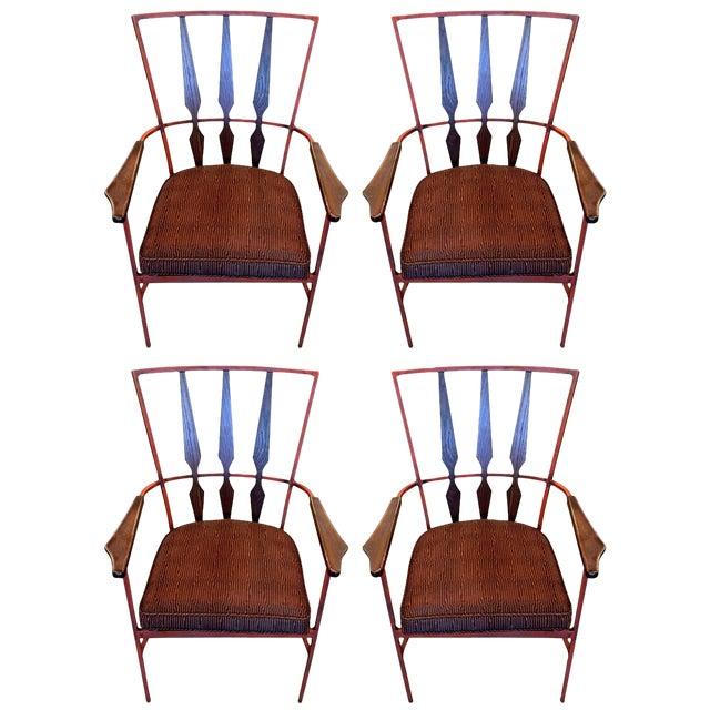 S/4 Mid Century Modern Enameled Steel & Walnut Armchairs Salterini Style - Image 1 of 4