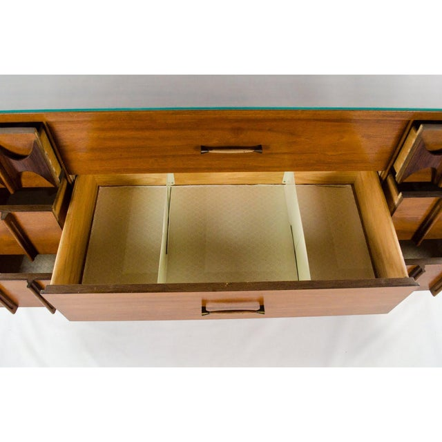 Brass Kent Coffey Perspecta Walnut and Rosewood Credenza For Sale - Image 7 of 13