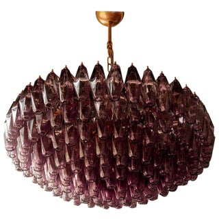 Very Huge Amethyst Polyhedral Murano Glass Chandelier For Sale