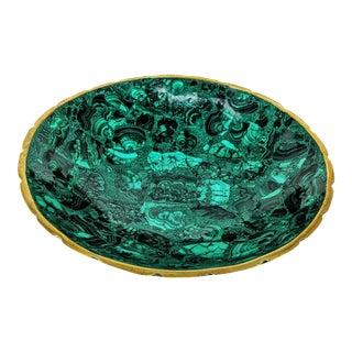 Malachite & Brass Decorative Bowl - Large For Sale