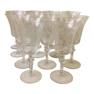 Vintage Tiffin Fuchsia Etched Crystal Water Goblets - Set of 12 For Sale