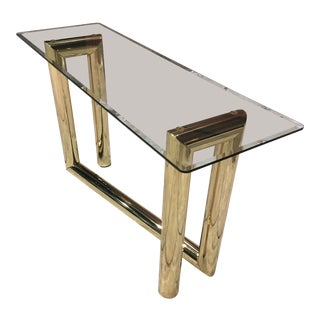 "Mid-Century Modern Brass & Glass ""z"" Sofa Table After Karl Springer For Sale"