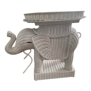Wicker Elephant Side Table For Sale