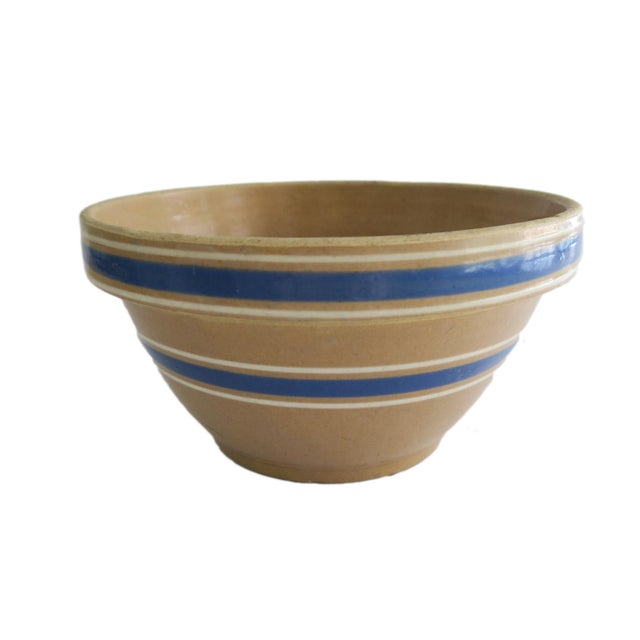 Antique Tan and Blue Striped Stoneware Crock Bowl For Sale - Image 4 of 4
