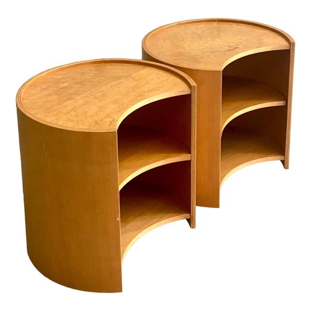 Vintage Mid-Century Modern Michael Taylor for Baker Curved Nightstands - a Pair For Sale