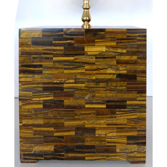 Tessellated Tigers Eye Table Lamps - A Pair - Image 3 of 10