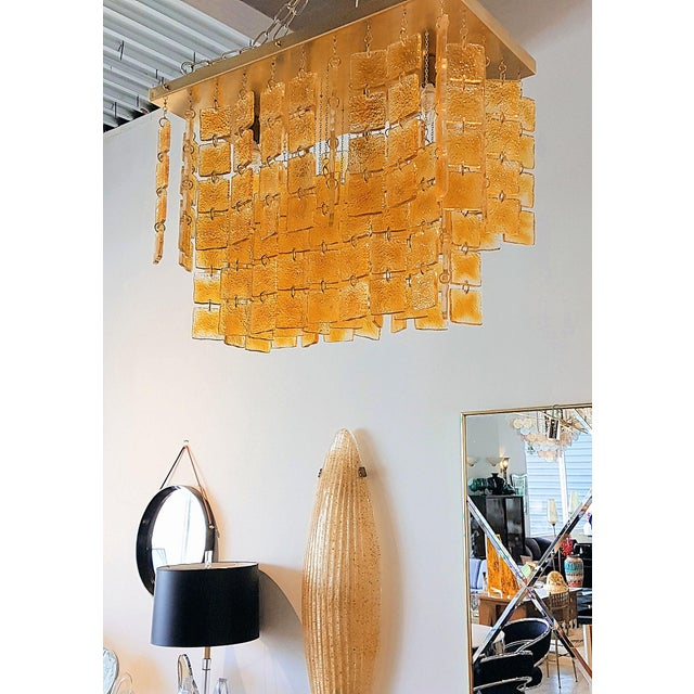 Boho Chic Mid Century Modern Honey/Brass Murano Glass Flush Mount Light by Sciolari For Sale - Image 3 of 6