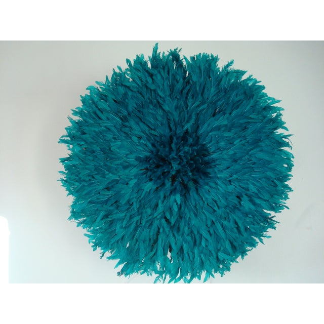 Asian Authentic Cameroon Juju Hat - Teal For Sale - Image 3 of 3