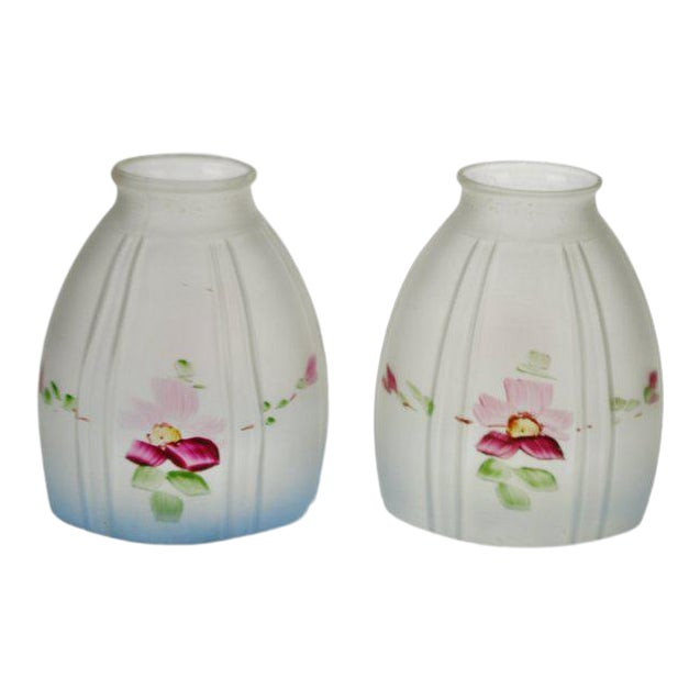 Victorian Handpainted Frosted Glass Light Shades - a Pair For Sale