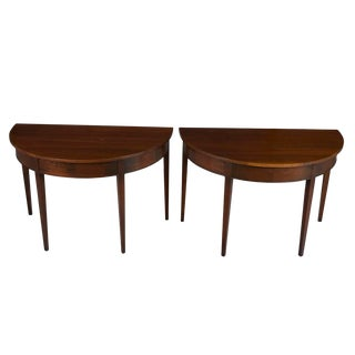 1960s Regency Mahogany Half Moon Demi Lune Hall Tables - a Pair For Sale