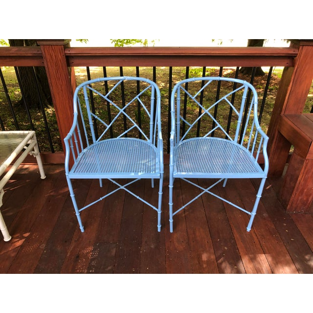 Asian 1970s Vintage Cast Aluminum Chinese Chippendale Faux Bamboo Barrel Chairs- A Pair For Sale - Image 3 of 13