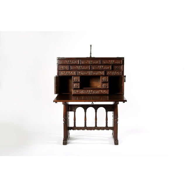 18th Century 8th Century Baroque Style Cabinet on Stand / Bargueno / Vargueno For Sale - Image 5 of 13