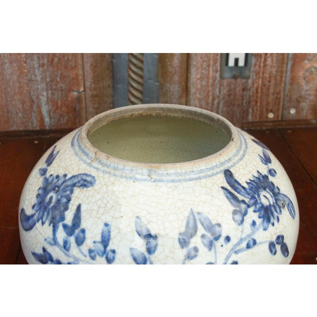 Blue Fascinating Early 20th Century Blue and White Jar For Sale - Image 8 of 12