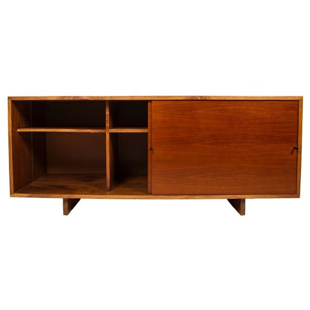 Nakashima Style Solid Walnut Media Cabinet For Sale - Image 5 of 10