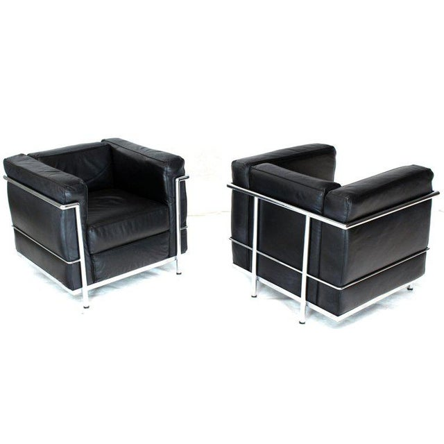Licensed Le Corbusier Club Chairs and Matching Lc2 Sofa Set- 3 Pieces For Sale - Image 9 of 12