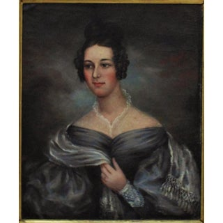 19th Century Portrait Lady Woman American School Oil Painting on Canvas Preview
