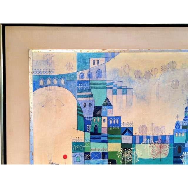 Heshi Yu Abstract Village Naive Chinese Modernist Oil Painting - Image 2 of 9