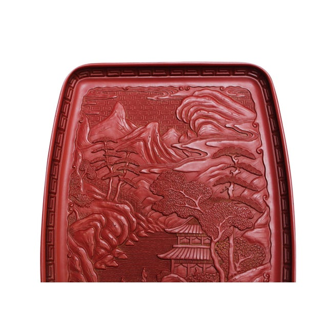 Red Japanese Tray - Pagoda Landscape Scene - Image 2 of 4