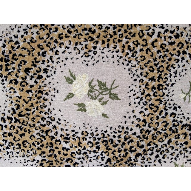 STARK STUDIO WOOL RUG-LIMITED EDITION-WHITE ROSE/ LEOPARD PRINT Custom made-measures approx 6.5' x 9.5'