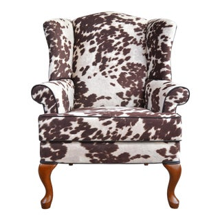 Coco Cow Print Wingback Chair