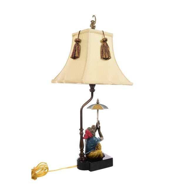 Metal Maitland Smith - Monkey Holding Umbrella - Table Lamps - a Pair For Sale - Image 7 of 10