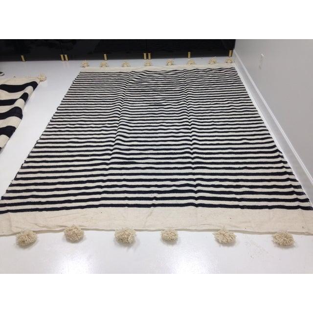 Make & Model Moroccan Striped Pom Pom Blanket - Image 2 of 3