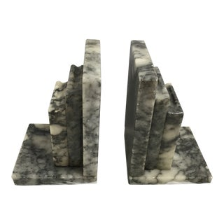 1960s Vintage Marble Bookends - A Pair