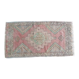 Unique Pattern Flatweave Oushak Rug, Small Turkish Floor Mat Carpet With Faded Pale Colors, Handmade Bedside Rugs 1'10'' X 3'4'' For Sale