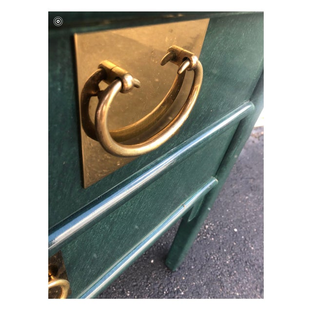Metal Century Furniture Lacquered Green Malachite Pagoda Console For Sale - Image 7 of 12