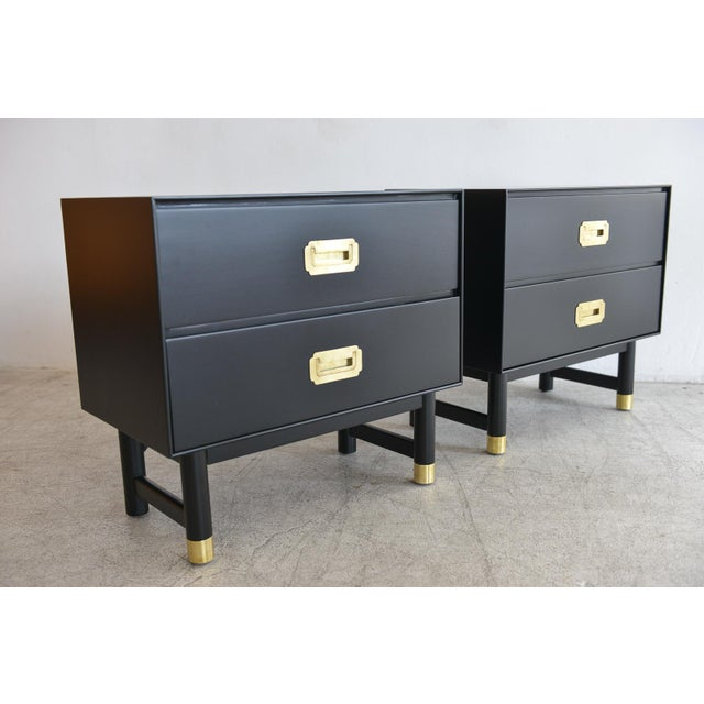 1960s Black Lacquer and Brass Campaign Nightstands - a Pair - Image 5 of 11