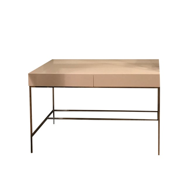 West Elm White Lacquer Storage Desk Chairish - West elm white lacquer coffee table