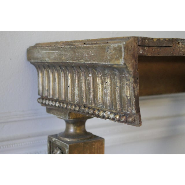 Brown 20th Century Louis XVI Style Petite Giltwood Wall Console Table With Stone Top For Sale - Image 8 of 10