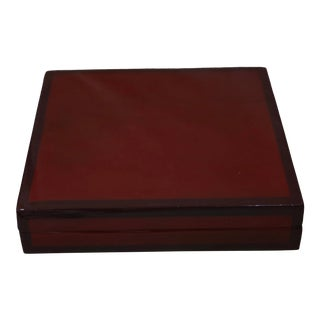 Vintage Red & Black Lacquered Box For Sale