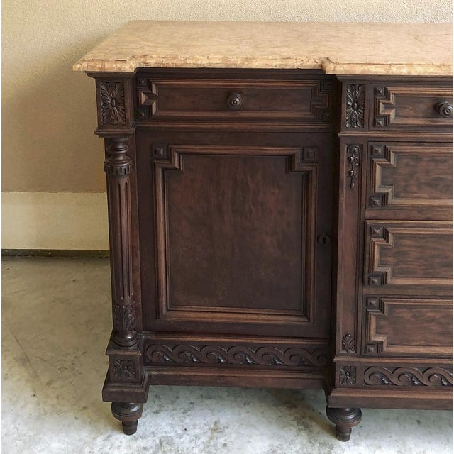 French 19th Century French Louis XVI Mueche Mahogany Marble Top Dresser ~ Cabinet For Sale - Image 3 of 13