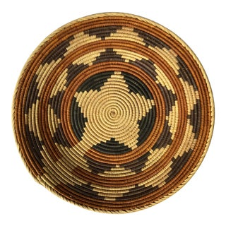 20th Century Boho Chic Patterned Coiled Basket
