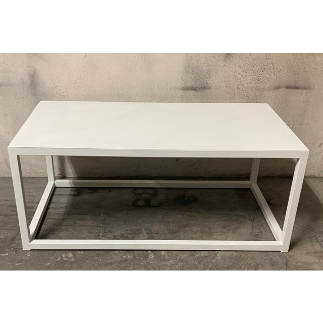 New Modern Rectangular White Table With Metal Top, Indoor or Outdoor For Sale In Miami - Image 6 of 12