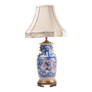 Gorgeous Asian Inspired Ceramic Lamp in Brilliant Cobalt Blue