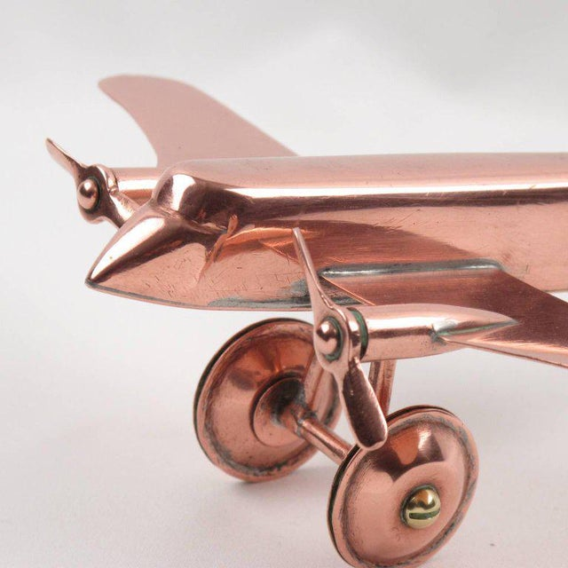 Mid-Century Modern Copper Airplane Model - Image 6 of 11